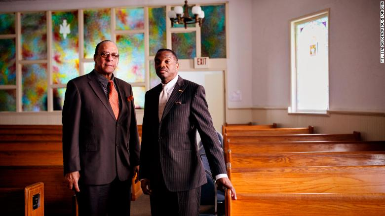 Andre White and Dr. Marvin Crawford at First Saint Paul African Methodist Episcopal Church in Lithonia, Georgia, in 2017.