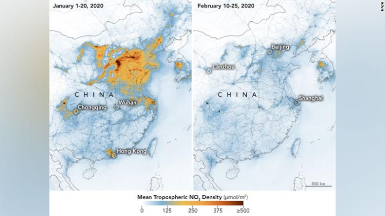 The satellite images have detected a significant decreases in nitrogen dioxide over China.