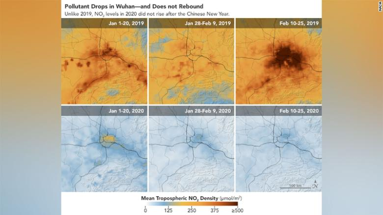 Images over Wuhan showing the pollutant numbers dropping but not rebounding.