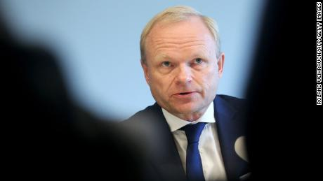Pekka Lundmark at a press conference in Germany in October. He was named Nokia's new CEO on Monday.
