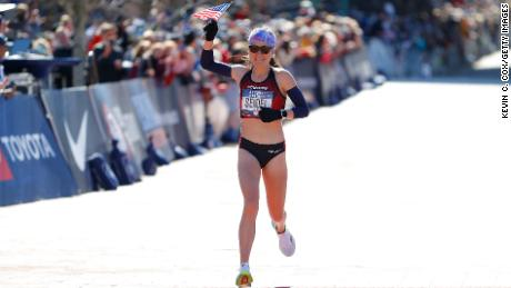 Molly Seidel crosses the finish line in Atlanta.