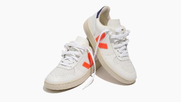 Veja Leather V-10 Sneakers in Neon