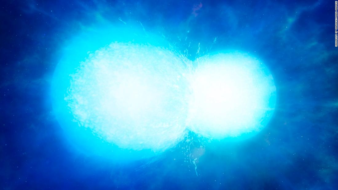 This is an artist's impression of two white dwarfs in the process of merging. While astronomers expected that this might cause a supernova, they have found an instance of two white dwarf stars that survived merging.
