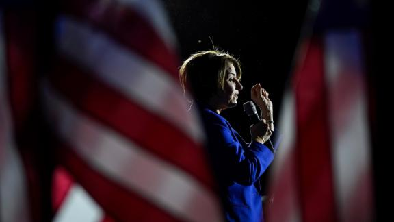 Klobuchar speaks during an event in Hanover, New Hampshire, in February 2020. She finished third in the New Hampshire primary. It was her highest finish of the campaign.