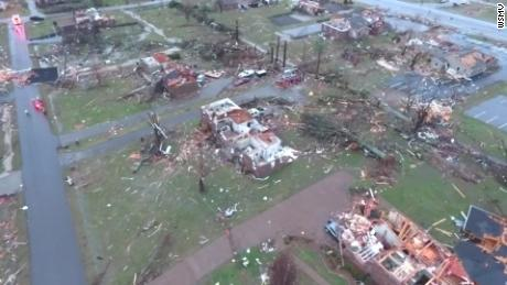 Aerial footage shows home damage in Tennessee's Mt. Juliet area on Tuesday morning.