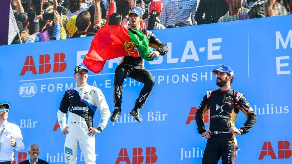 MARRAKECH, MOROCCO - FEBRUARY 29: In this handout from FIA Formula E, Antonio Felix da Costa (PRT), DS Techeetah, DS E-Tense FE20, 1st position, Maximilian Günther (DEU), BMW I Andretti Motorsports, 2nd position, and Jean-Eric Vergne (FRA), DS Techeetah, DS E-Tense FE20, 3rd position on February 29, 2020 in Marrakech, Morocco. (Photo by ABB FIA Formula E/Handout/Getty Images)