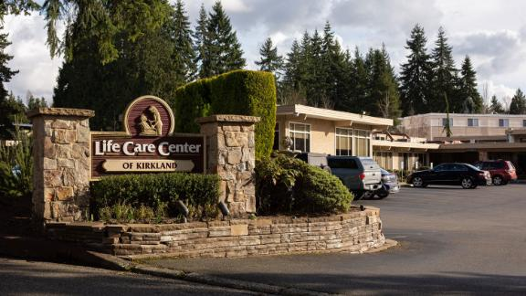 SEATTLE, WA - FEBRUARY 29: A sign is seen at the entrance to Life Care Center of Kirkland on February 29, 2020 in Kirkland, Washington. Dozens of staff and residents at Life Care Center of Kirkland are reportedly exhibiting coronavirus-like symptoms, with two confirmed cases of (COVID-19) associated with the nursing facility reported so far. (Photo by David Ryder/Getty Images)
