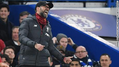A frustrated Jurgen Klopp gesticulates on the sidelines against Chelsea.