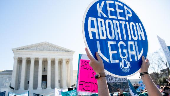 Pro-choice activists supporting legal access to abortion protest during a demonstration outside the US Supreme Court in Washington, DC, March 4, 2020, as the Court hears oral arguments regarding a Louisiana law about abortion access in the first major abortion case in years. - The United States Supreme Court on Wednesday will hear what may be its most significant case in decades on the controversial subject of abortion. At issue is a state law in Louisiana which requires doctors who perform abortions to have admitting privileges at a nearby hospital. (Photo by SAUL LOEB / AFP) (Photo by SAUL LOEB/AFP via Getty Images)