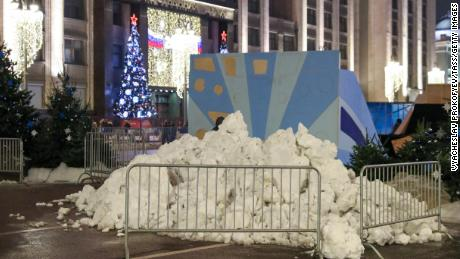 Piles of artificial snow were brought to central Moscow for the New Year celebrations.