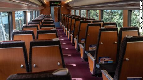 A carriage on a train is nearly empty as it travels from Shinjuku to the toursi resort of Hakone on March 3, 2020 in Hakone, Japan.