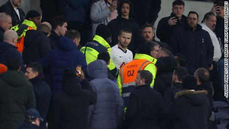 Eric Dier of Tottenham Hotspur is seen speaking to fans in the stands after the club's FA Cup defeat by Norwich.