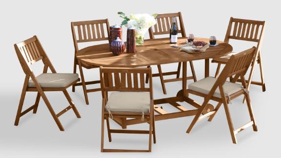 Cost Plus World Market Oval Wood Lira 7 Piece Folding Dining Set