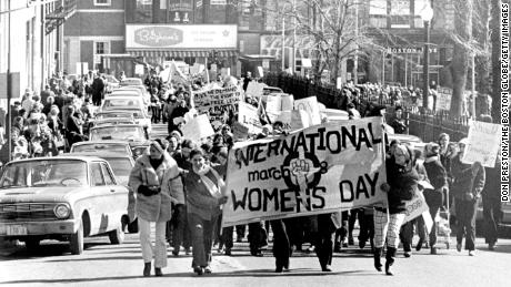 Hundreds of women march for abortion rights and workplace equality in downtown Boston on March 8, 1970.