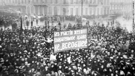 "On March 8, 1917, thousands of women in Petrograd rallied together for ""Bread and Peace."" This demonstration helped spark the Russian Revoluion."