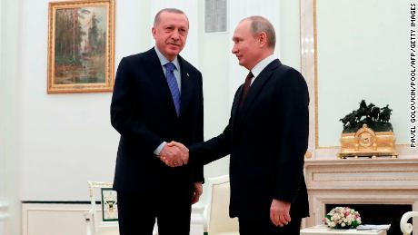 Russian President Vladimir Putin meets with his Turkish counterpart Recep Tayyip Erdogan at the Kremlin in Moscow on March 5, 2020.