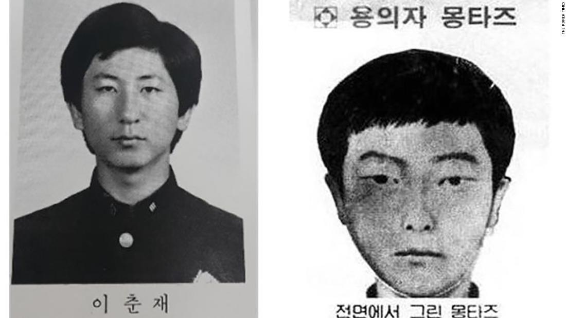 Lee Chun-jae's high school graduation photo, left, and a facial composite of the Hwaseong serial killer. (Credit: Korea Times)