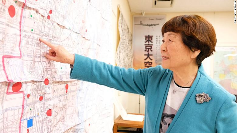 Haruyo Nihei, a survivor of the deadliest single bombing raid in human history, looks at maps at Tokyo Air Raids Center for War Damages