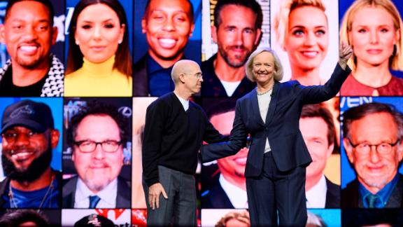 Quibi CEO Meg Whitman (R) and Quibi founder Jeffrey Katzenberg speak about their short-form video streaming service Quibi during their keynote address January 8, 2020 at the 2020 Consumer Electronics Show (CES) in Las Vegas, Nevada. (Photo by  Robyn Beck/AFP/Getty Images)