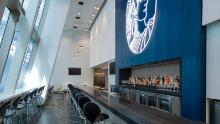 The main bar at the new Amex Centurion Lounge at LAX.