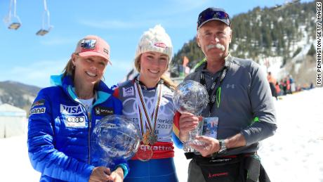 Shiffrin with her mother Eileen and father Jeff.