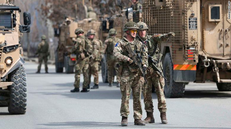 British soldiers near the scene of the attack in Kabul.