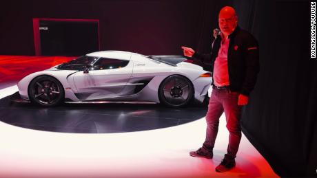 Christian von Koenigsegg showing off the Koenigsegg Jesko Absolut, a car he claims is capable of going well over 300 miles an hour.
