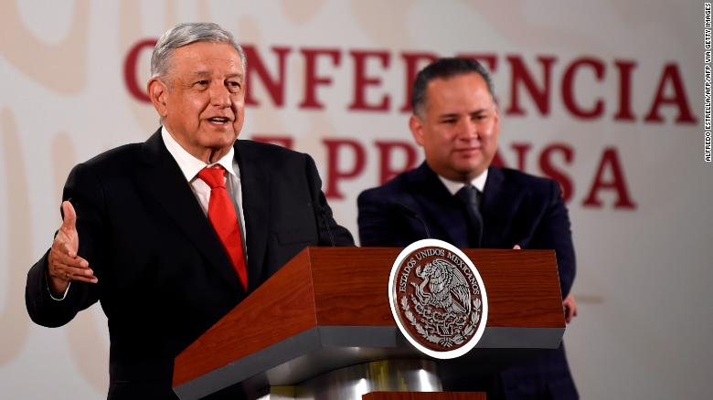Mexican President Andres Manuel Lopez Obrador (left) speaks at a press conference on March 4.