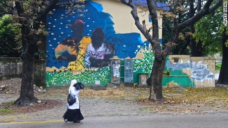 A vandalized mural in Islamabad, Pakistan.