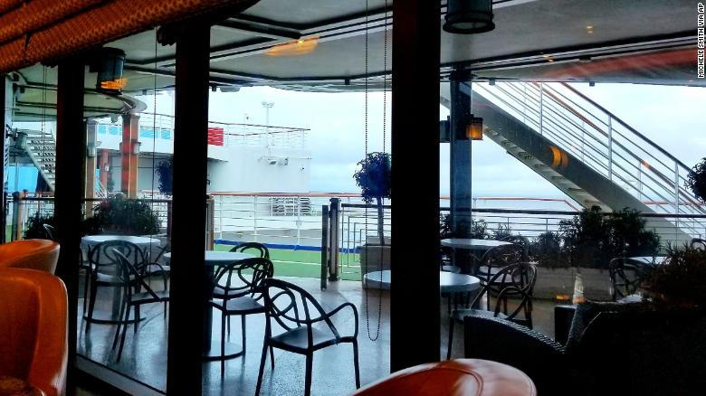 A deserted lounge area on the Grand Princess cruise ship Friday.