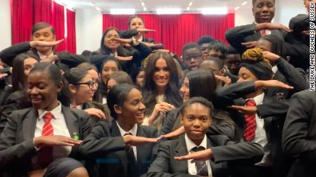 Meghan, Duchess of Sussex told students that International Women's Day was about everybody.