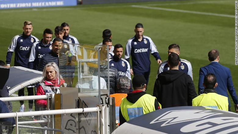 Players were asked to wait in the dressing room during the delay.