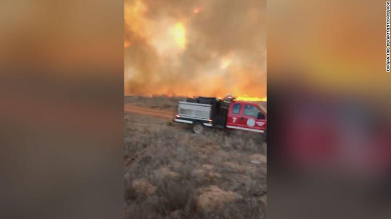 A still image from video posted by the Forgan, Oklahoma, fire department shows the scale of the flames.