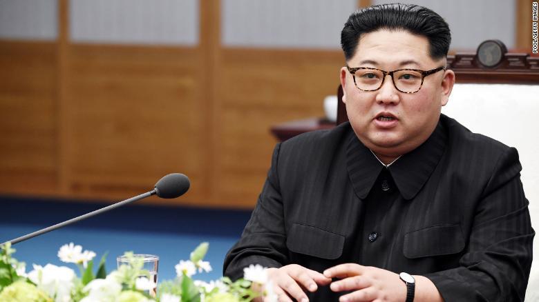 North Korean Leader Kim Jong Un speaks in April 2018 in Panmunjom, South Korea.