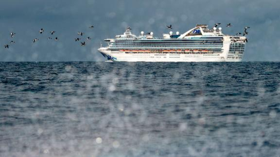 """The Grand Princess cruise ship, carrying at least 21 people who tested positive for coronavirus, is seen off the coast of San Francisco on March 8. <a href=""""https://www.cnn.com/2020/03/09/health/us-coronavirus-monday/index.html"""" target=""""_blank"""">The ship was being held at sea.</a>"""