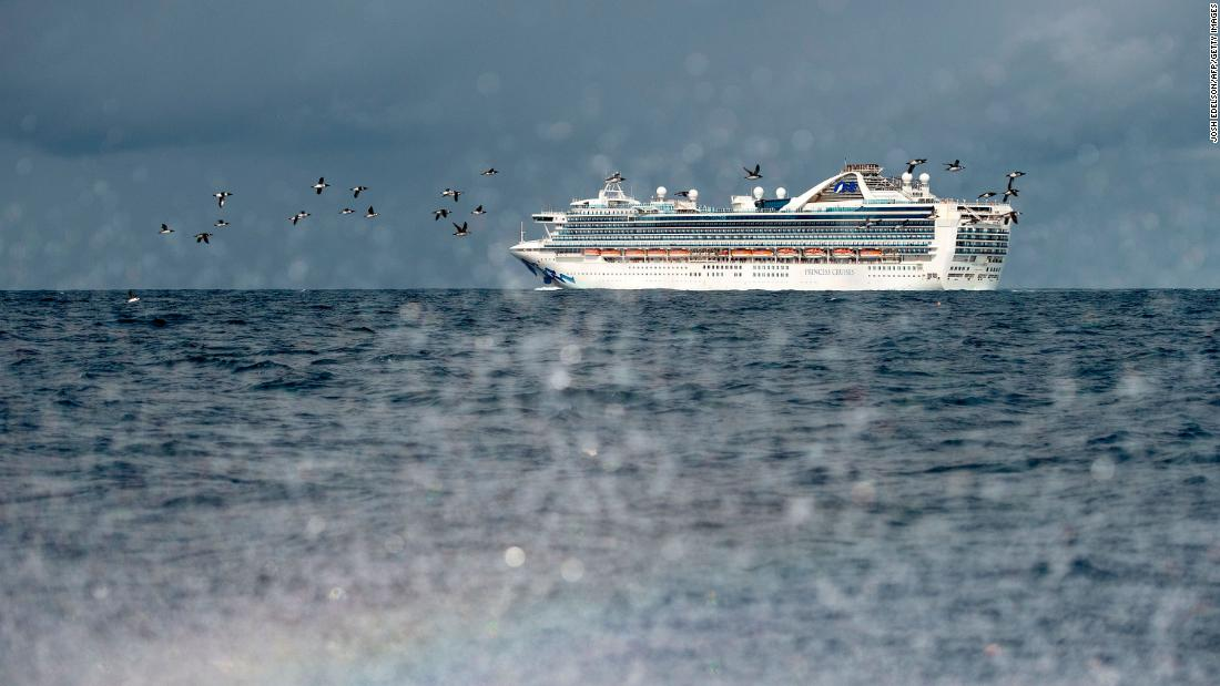 "The Grand Princess cruise ship, carrying at least 21 people who tested positive for coronavirus, is seen off the coast of San Francisco on March 8. <a href=""https://www.cnn.com/2020/03/09/health/us-coronavirus-monday/index.html"" target=""_blank"">The ship was being held at sea.</a>"