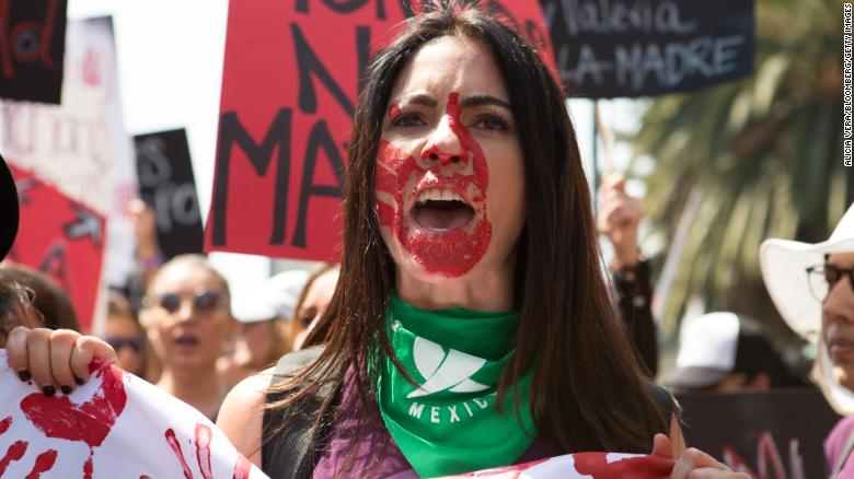 A demonstrator during a rally on International Women's Day in Mexico City on Sunday, March 8, 2020.