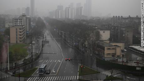 A general view shows an empty street in Wuhan, on March 8.