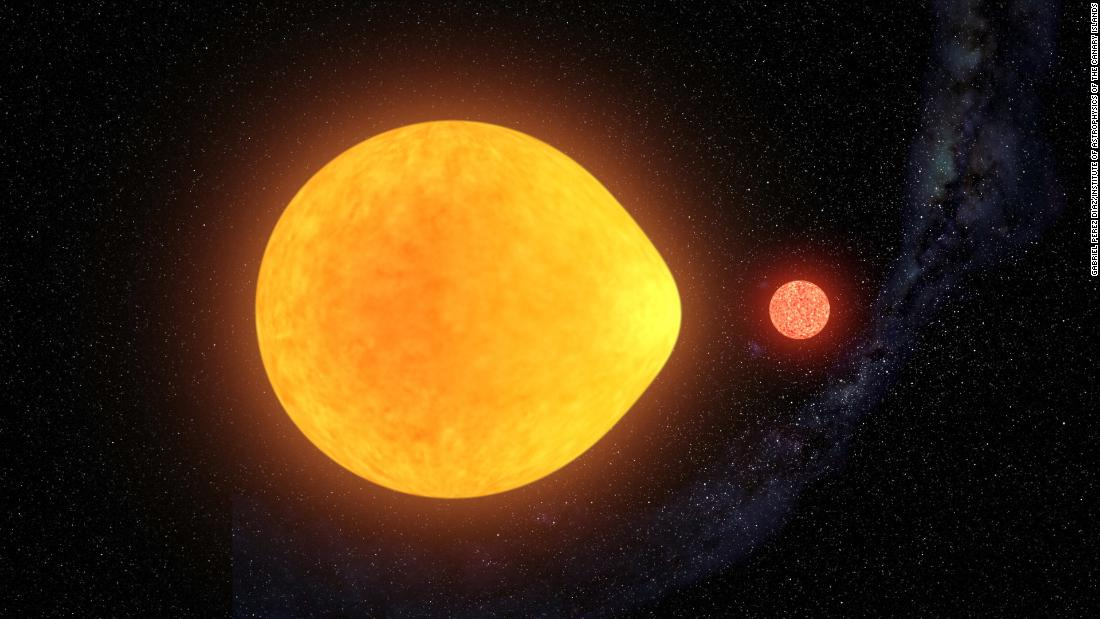This is an artist's impression of a large star known as HD74423 and its much smaller red dwarf companion in a binary star system. The large star appears to pulsate on one side only, and it's being distorted by the gravitational pull of its companion star into a teardrop shape.