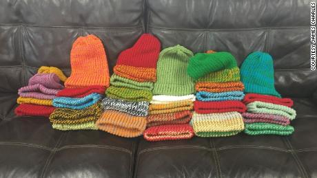 People have donated warm hats, food, blankets and more for the homeless who park at Kiplin's Auto.