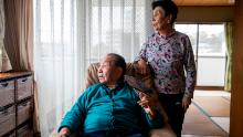 Iwao Hakamada and his sister Hideko (R) at their home in Hamamatsu.