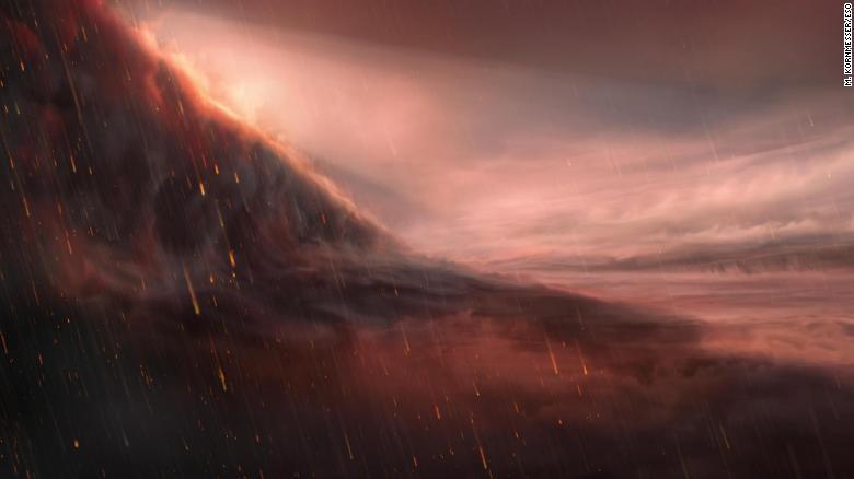 Bu sanatçının çiziminde, demirden gökten yağmur yağan gezegen dışı WASP-76b'nin gece yandan görünüşü gösteriliyor.
