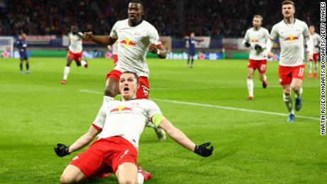 Marcel Sabitzer celebrates after scoring his opening goal.