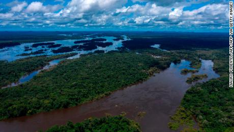 Aerial view of the Iriri River at the Arara indigenous land, in the Amazonian Rainforest, Para State, Brazil on March 15, 2019.