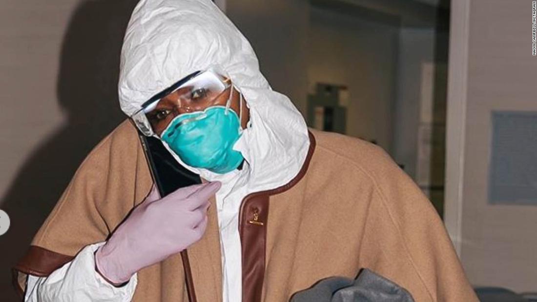 Naomi Campbell wears hazmat suit to airport amid coronavirus outbreak
