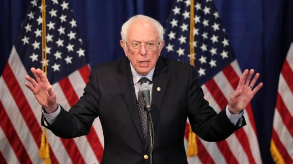 "Sanders speaks to reporters in Burlington, Vermont, a day after Super Tuesday II. Sanders said it ""was not a good night for our campaign from a delegate point of view"" but that he looked forward to staying in the race and taking on Joe Biden in an upcoming debate."