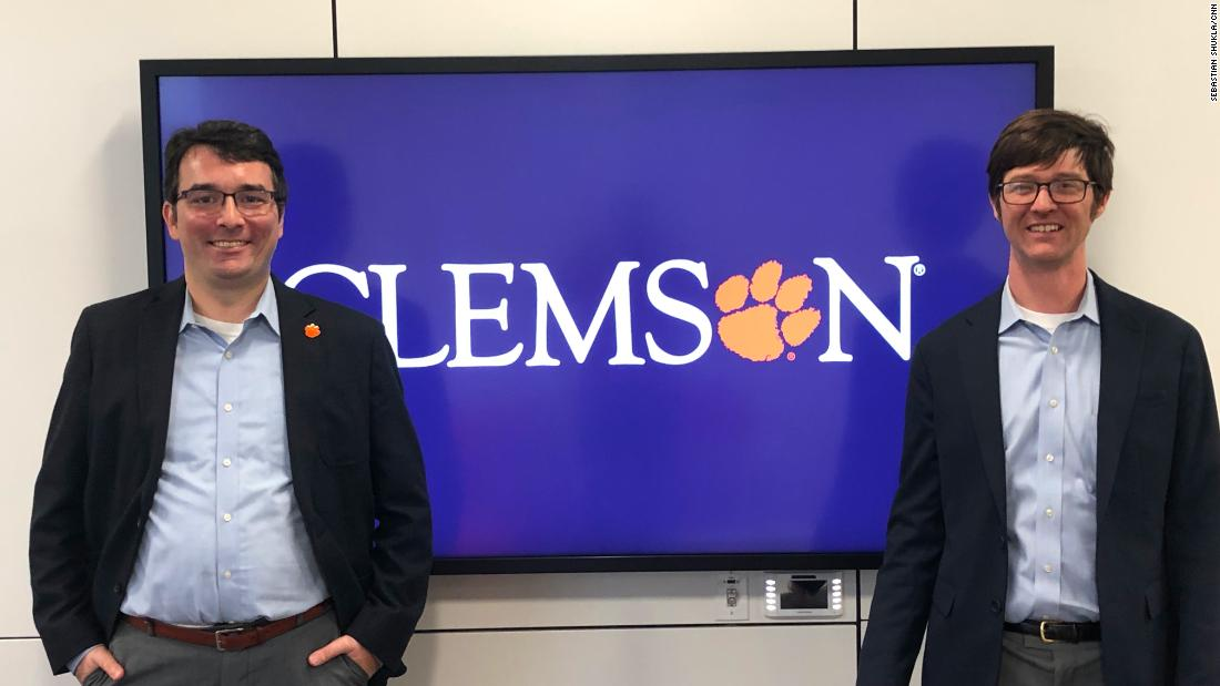 Clemson professors Darren Linvill, left, and Patrick Warren often see new fake accounts replacing any that are shut down.