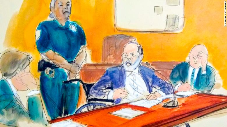 Harvey Weinstein faces victims seated in the front row as he makes his sentencing statement.