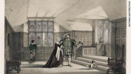 King Henry VIII and Anne Boleyn at Hever Castle Kent circa 1530.