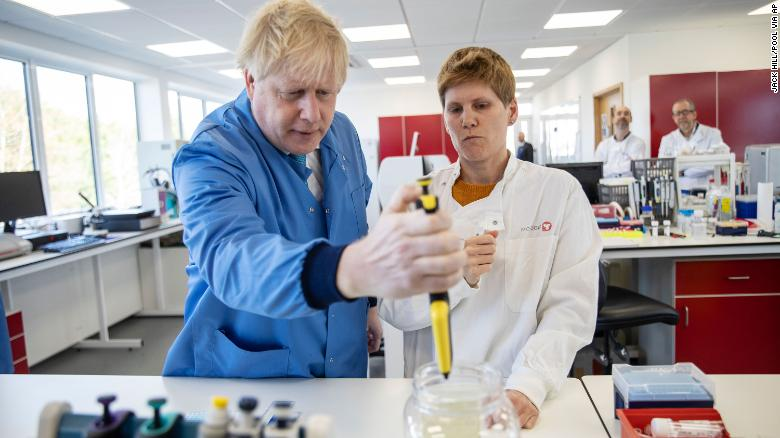 Boris Johnson visits the Mologic Laboratory where the coronavirus test kit is being developed in March.